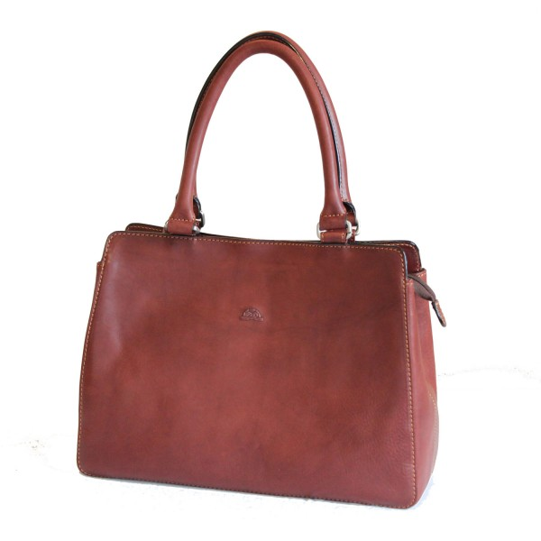 Tony Perotti Italian Vegetale Leather Handbag - TP8121 Brown