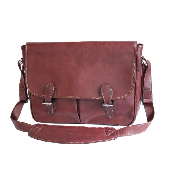 Tony Perotti Italian Vegetale Leather Messenger Satchel - TP8351 Brown