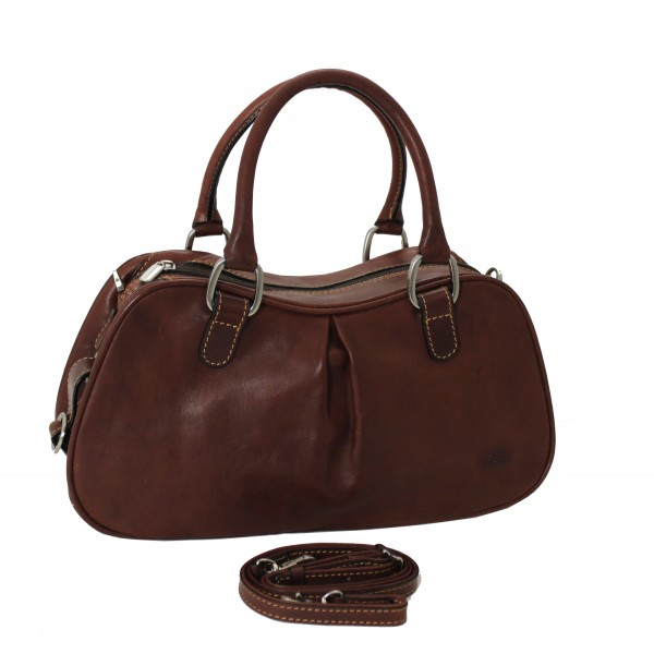 Tony Perotti Italian Vegetale Leather Shoulder Bag - TP8812 Brown