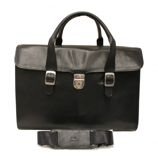 Tony Perotti Italian Vegetale Leather Laptop Lockable Briefcase - TP8965G Black