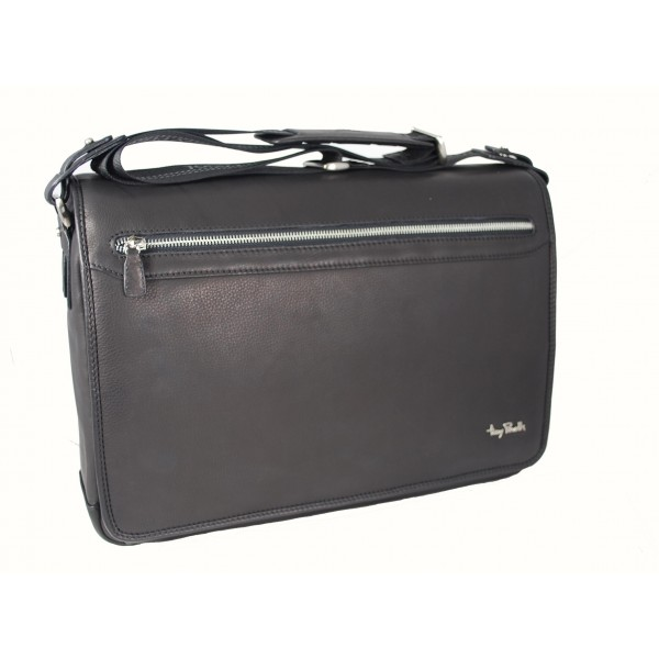 Tony Perotti Contatto Italian Soft Leather Laptop Messenger Bag - TP9051 Black