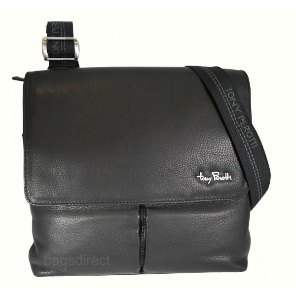 Tony Perotti Contatto Italian Soft Leather Messenger Bag - TP9270 Black