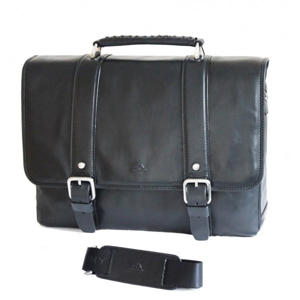Tony Perotti Italian Vegetale Leather Satchel with Tablet Section - TP-9613 Black