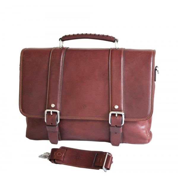 Tony Perotti Italian Vegetale Leather Satchel with Tablet Section - TP-9613 Brown