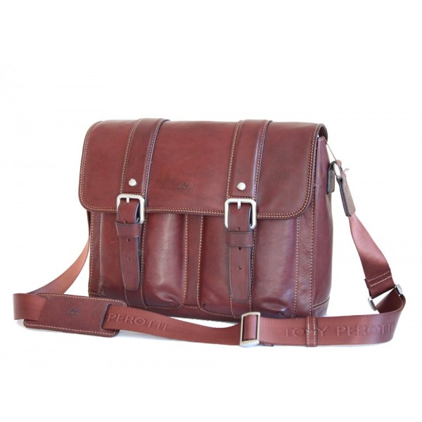 Tony Perotti Italian Vegetale Leather Satchel with Tablet Section - TP9614 Brown