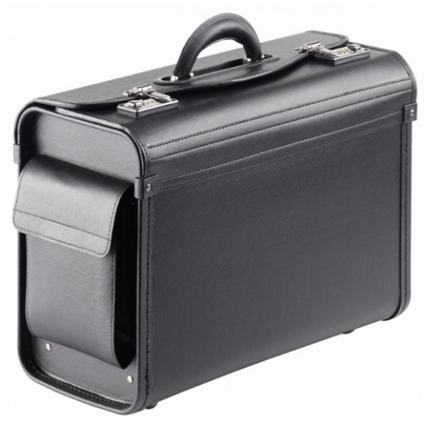 "Falcon 17"" Laptop Multi-Purpose Faux Leather Pilot Case - FI2345 Black"
