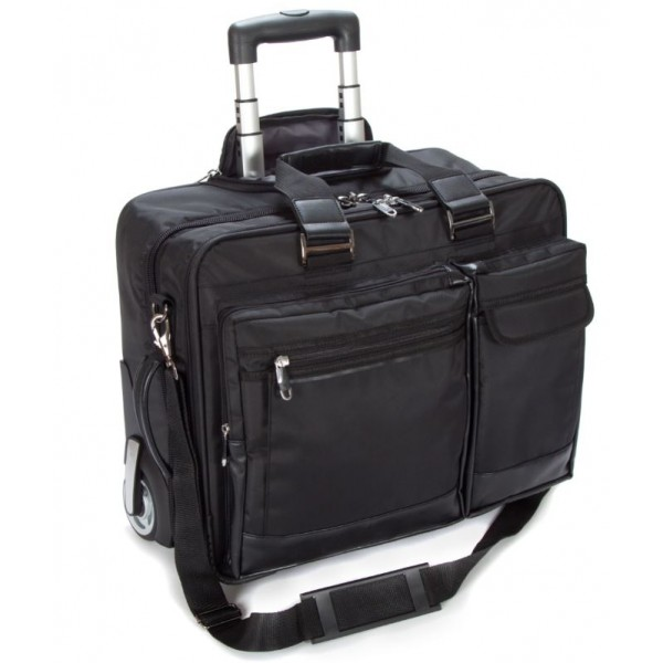 "Falcon 2 Wheeled 17"" Laptop Business Trolley Case - FI2563 Black"