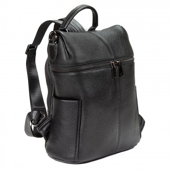 Falcon Leather Tablet Bucket Backpack - FI6710 Black