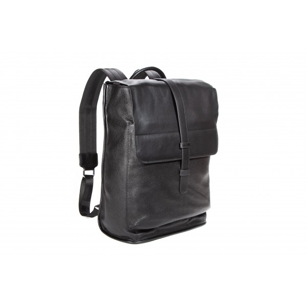 Falcon Leather Structured Backpack - FI6716 Black
