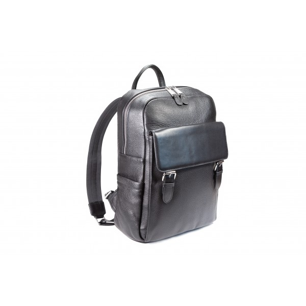 Falcon Leather Twin Buckle Backpack - FI6717 Black