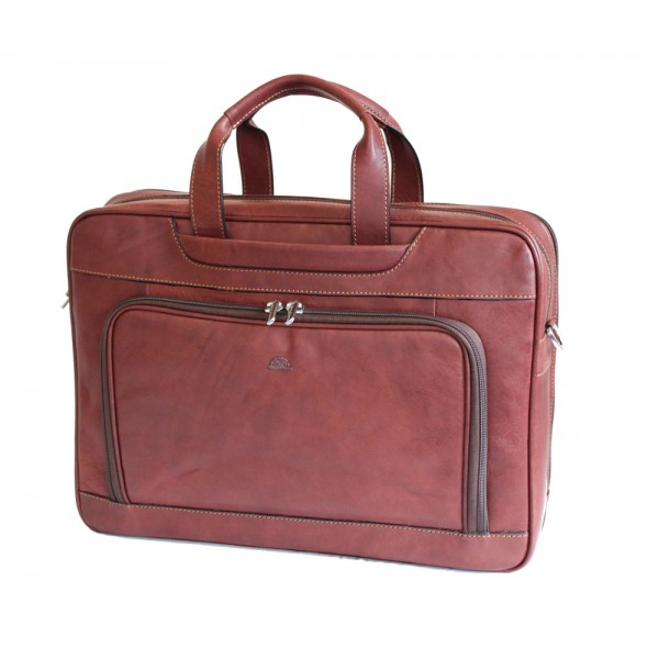 "Tony Perotti Italian Vegetale Leather 15"" Laptop Twin Handle Briefcase - TP8976 Brown"