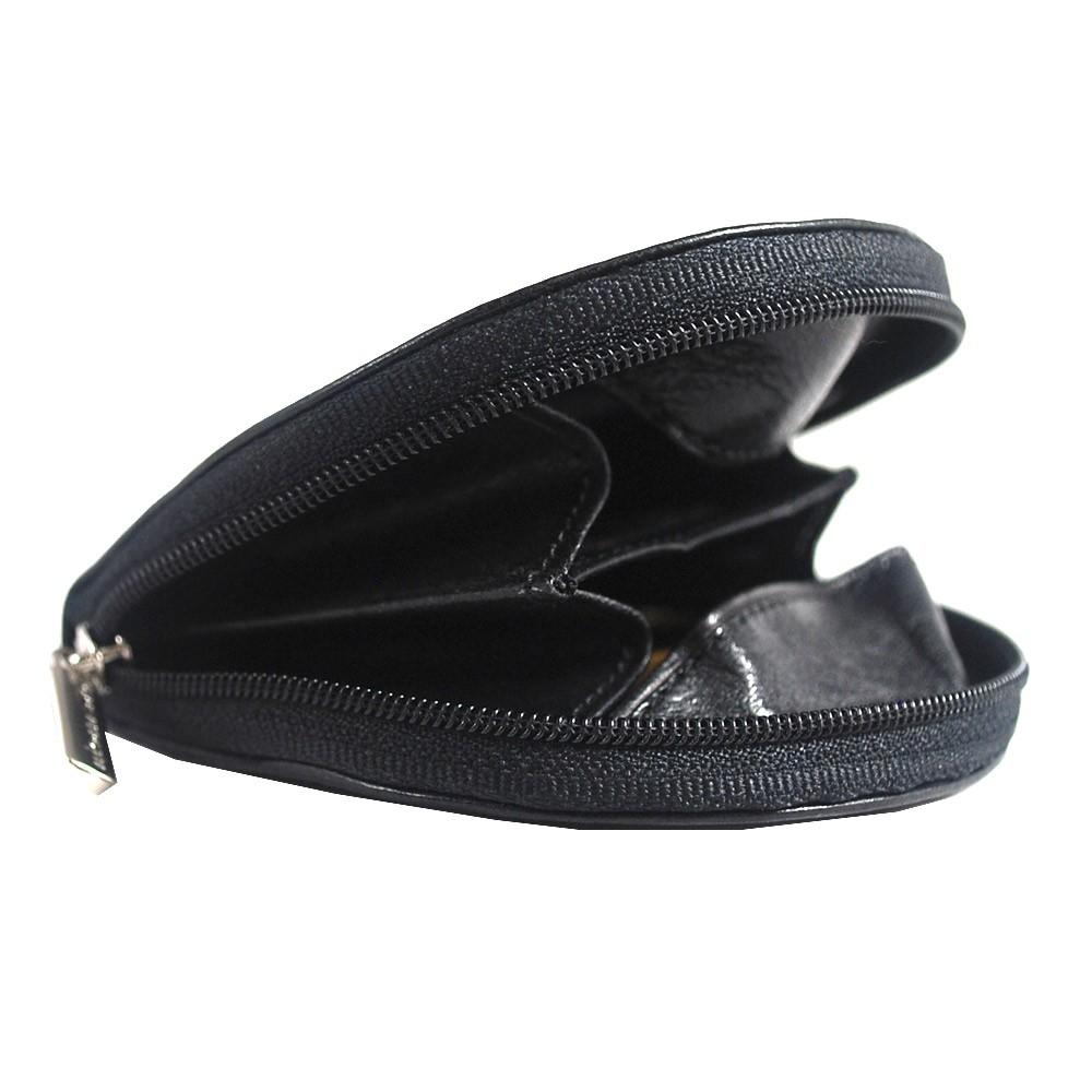 1123G Leather Zippered Coin Purse Tony Perotti Italian Leather Black TP