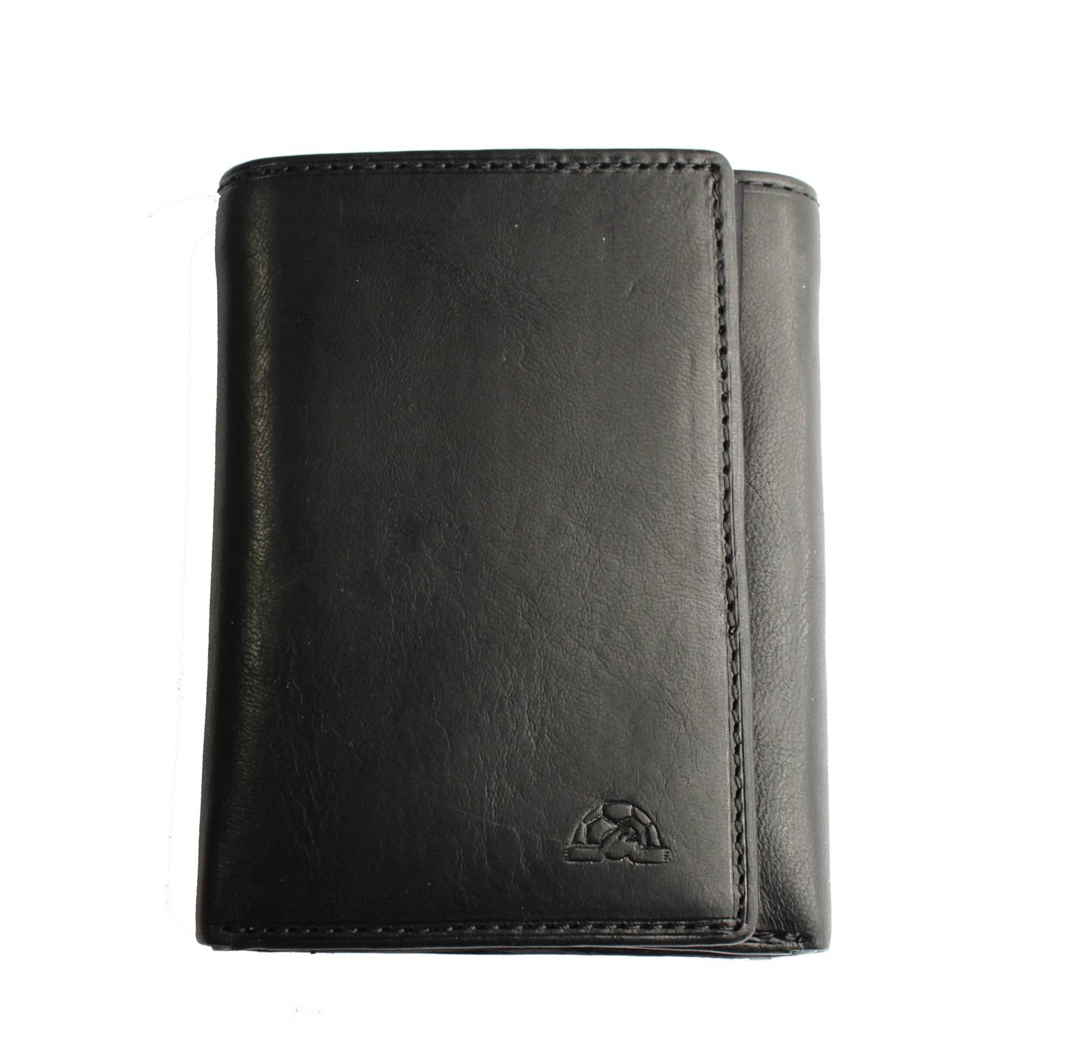 Leather Tri Fold Wallet Tony Perotti Italian Leather Black  TP-2313G