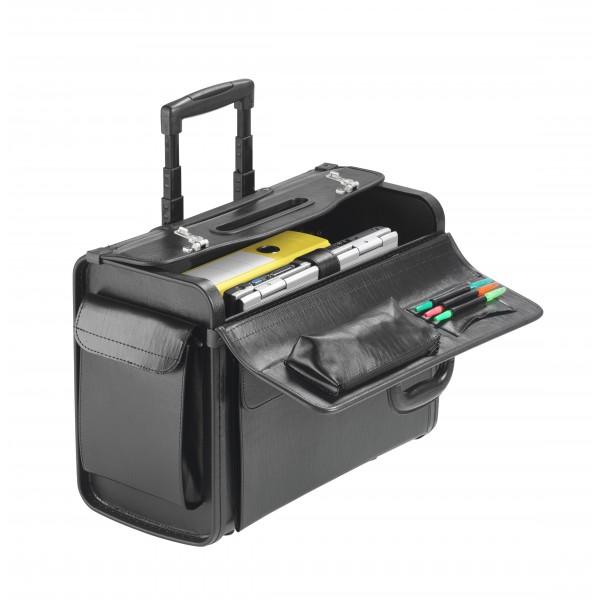 """Falcon 2 Wheeled 17"""" Laptop Pilot Trolley Case - FI2340T Black"""