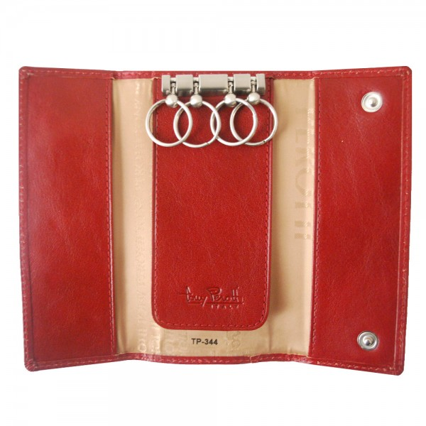 Tony Perotti Italian Versilia Leather 4 Ring Key Case - TP0344 Red