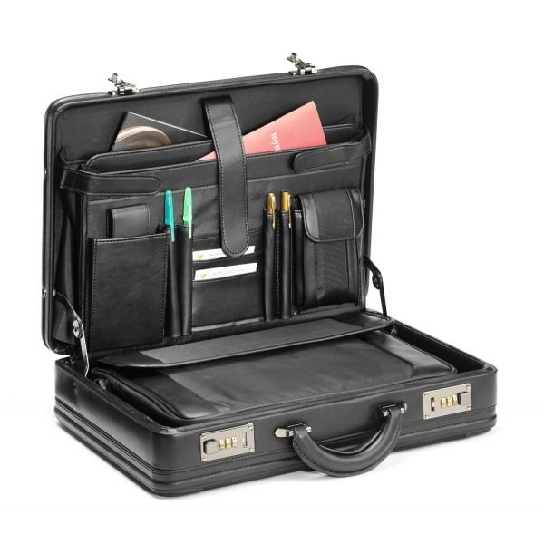 "Falcon Faux Leather & Polyester 14"" Laptop Briefcase - FI2283 Black"