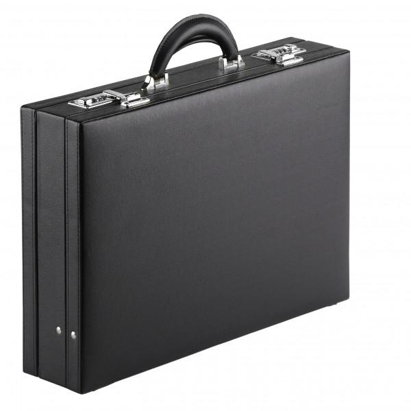 Falcon Faux Leather Expandable Attaché Case - FI2284 Black