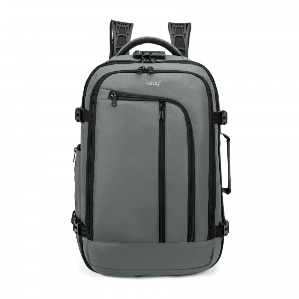 "i-stay 15.6"" Laptop & Tablet Cabin Travel Backpack with USB & anti-theft - Slate Grey"