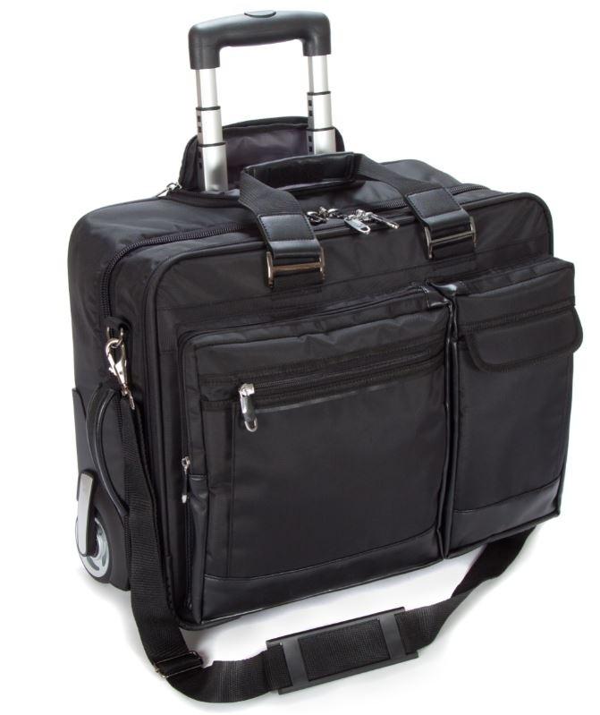 "Falcon 2 Wheeled 17"" Laptop Business Trolley Case - FI2563 Black"